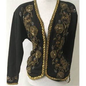 Black/Gold Sequin Cardigan Sweater L